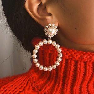 Jewelry - Trendy Pearl Hoop Earrings . New